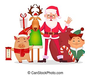 Santa Claus, Santa helper Elf, deer, piggy - Christmas...
