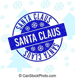 Santa Claus Scratched Round Stamp Seal for Xmas