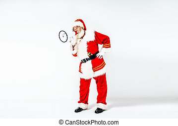 Santa Claus screaming loudly about the upcoming Christmas.