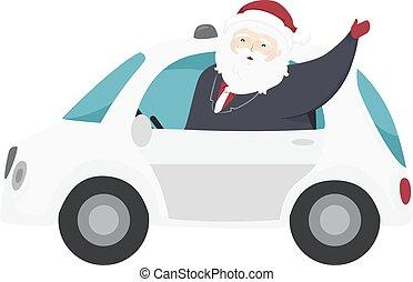Santa Claus Self Driving Car Illustration