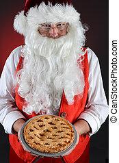 Santa Claus Serving Pie
