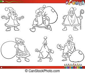 santa claus set coloring book