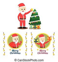santa claus set illustration design