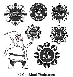 Santa Claus. Set of festive stickers snowflakes with the text. Vector illustrations