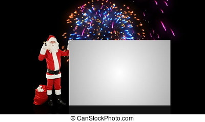 Santa Claus shaking bell presenting a white sheet, against holiday fireworks