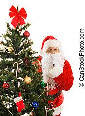 Santa Claus Shhhhhh - Santa Claus peeking around the...