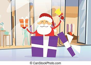 Santa Claus Shop Gift Box Shopping in Mall Center Christmas Holiday