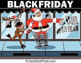 Santa Claus shopping running pushing cart reindeer black friday sale