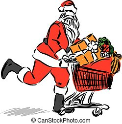 santa claus shopping vector illustration