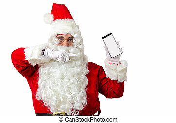 Santa Claus showing smart phone on white blackground with copy space for text