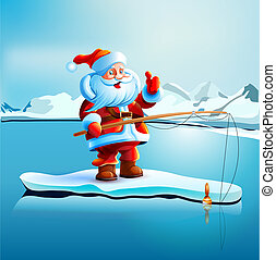 Santa Claus shows thumbs up. - Santa Claus is standing on an...