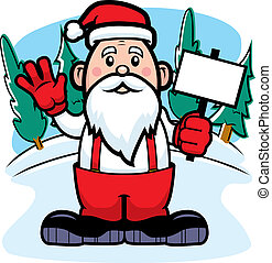 Santa Claus Sign - A cartoon Santa Claus holding a sign and ...