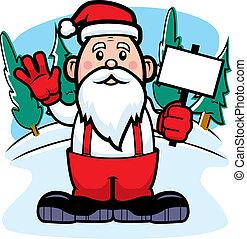 A cartoon Santa Claus holding a sign and waving.