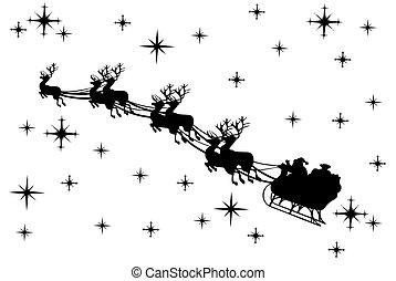 Santa Claus Silhouette  - santa claus driving in a sledge
