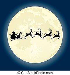 Santa Claus silhouette with deers in front of moon - Santa...