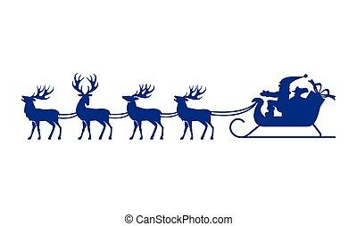 Santa Claus silhouette with reindeer. - Santa Claus rides in...