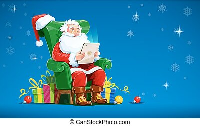 Santa claus sit in armchair with tablet. Christmas character...