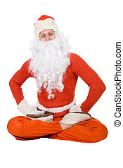 Santa Claus sit on half twine and stretching on a white...