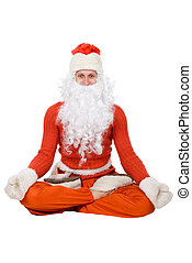Santa Claus sit on half twine and stretching