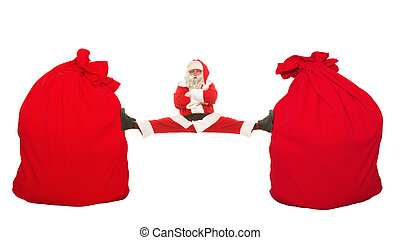 Santa Claus sits on a splits stretching between two mbolshih bags with gifts