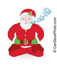 Santa Claus sitting as yogi over white