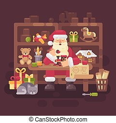 Santa Claus sitting at the desk in his workshop making toys for kids. Christmas flat illustration