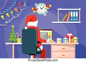 Santa Claus Sitting Desk Using Laptop Internet Back Rear ...