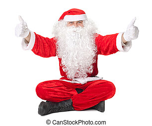 Santa Claus sitting on floor with thumb up sign