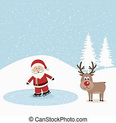 santa claus skate on ice snowy background