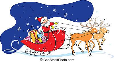 Santa Claus sledge, Christmas gifts