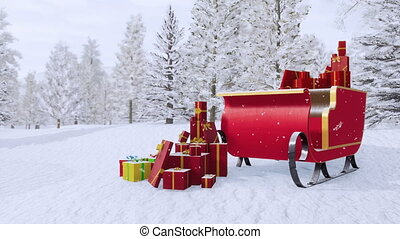 Santa claus sleigh among snowy winter forest 4K