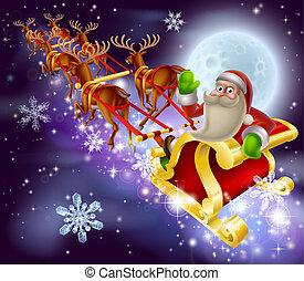 Santa Claus Sleigh Christmas Scene - A Santa Claus sleigh...
