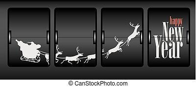 Santa Claus sleigh Happy New Year