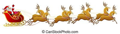 Illustration of Santa Claus and his sleigh isolated on white