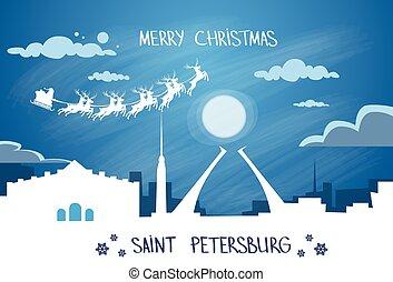 Santa Claus Sleigh Reindeer Fly Russian Sky over Saint...