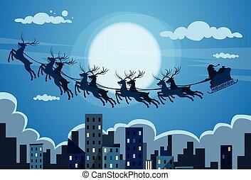 Santa Claus Sleigh Reindeer Fly Sky over City Skyscraper...