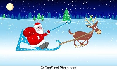 Santa Claus sleigh rides with a bag of gifts in a snowy forest