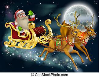 Santa Claus Sleigh Scene - Santa Claus sleigh scene of Santa...