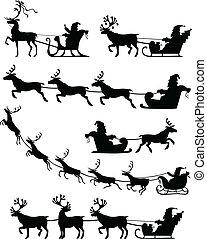 Santa Claus sleigh set - Set of silhouette image of Santa...