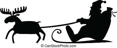 Santa Claus sleigh - Silhouette image of Santa Claus riding...