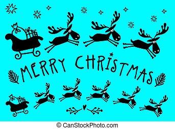 Santa Claus sleigh with moose, vector
