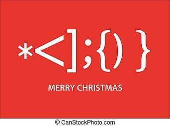 Santa Claus smiley Christmas card, vector