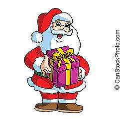 Santa Claus Smiling and Bringing Th