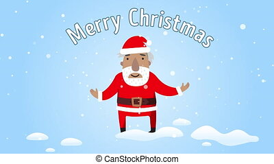 Santa Claus smiling and congratulated Merry Christmas. Flat design. Greeting e-card with text merry christmas.