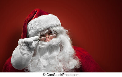 Santa Claus smiling face on red background