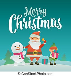 Santa claus, snowman and elf with gift. Flat vector...