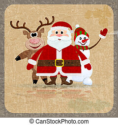 Santa Claus, snowman and reindeer on a retro background