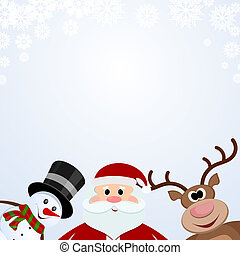 Santa Claus, snowman and reindeer on a snowy background