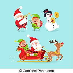 Santa Claus Snowman with Elf Vector Illustration