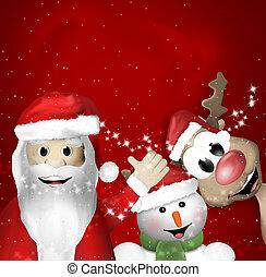 Santa Claus Sowman and Reindeer Christmas Feeling